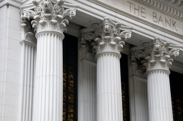 Ionic columns of a bank building