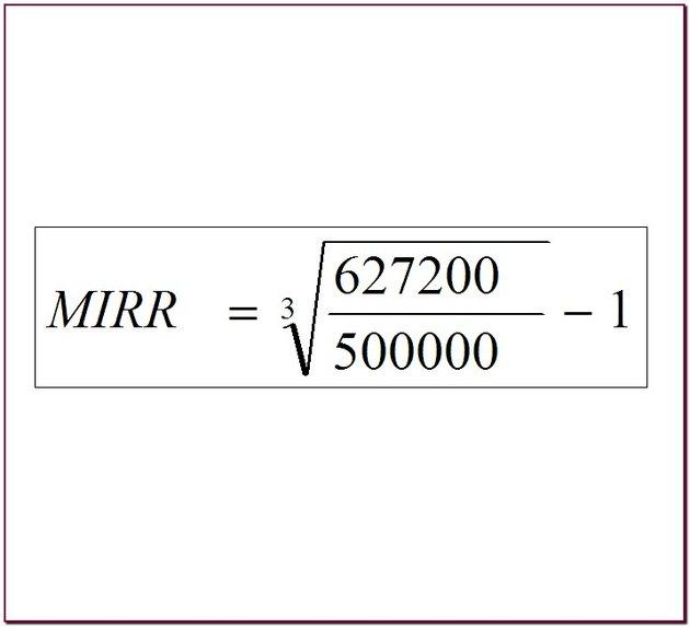 MIRR calculation.