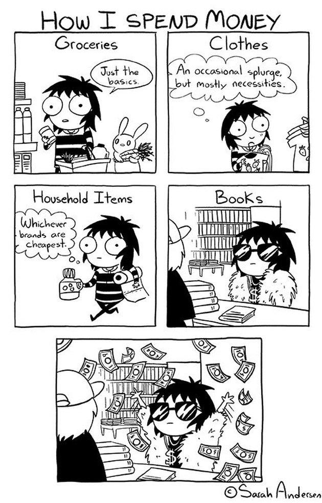 """Sarah Andersen comic """"How I Spend Money"""""""