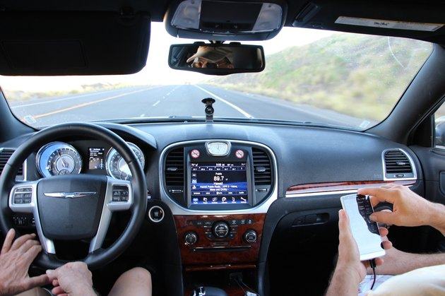 Dashboard view of front seat of car