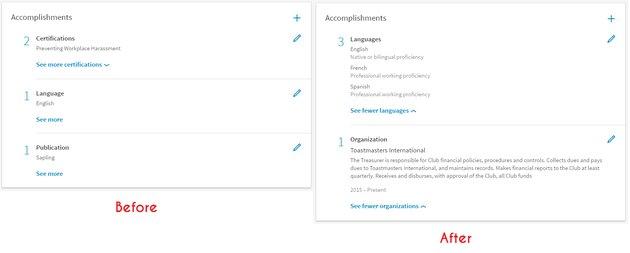 linkedin accomplishments example