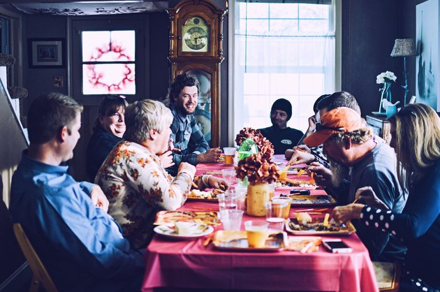 Family eating Thanksgiving together