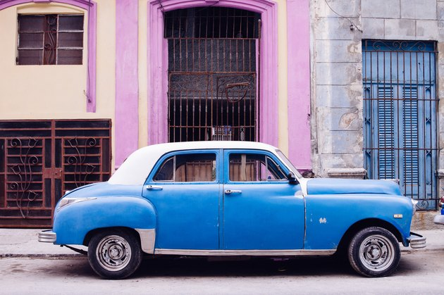 Colorful old car in Havana Cuba