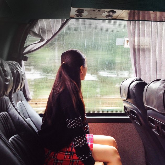 Traveling by train.