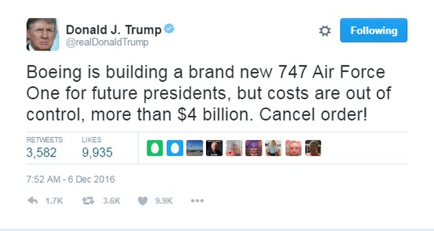 donald trump tweet about air force one