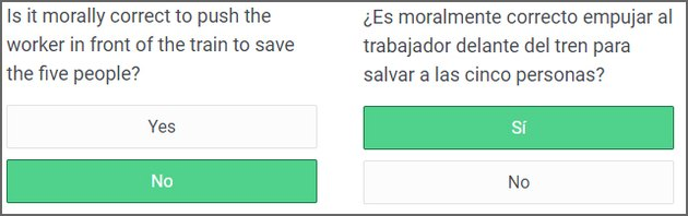 Sample questions in English and Spanish