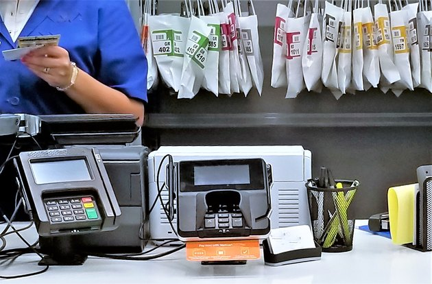 Front counter payment terminal at pharmacy