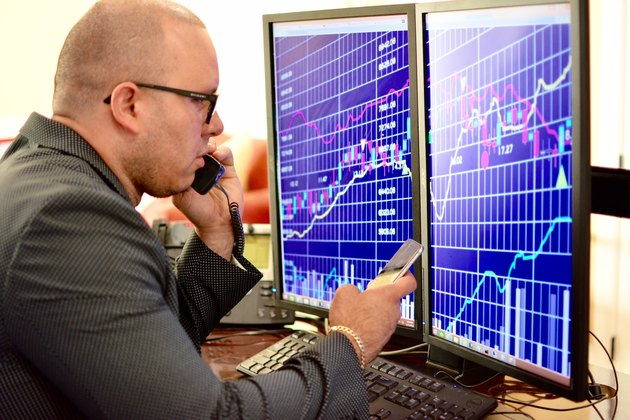 Man analyzing stock market data