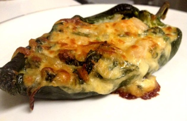 chiles rellenos with kale, white beans, and cheese