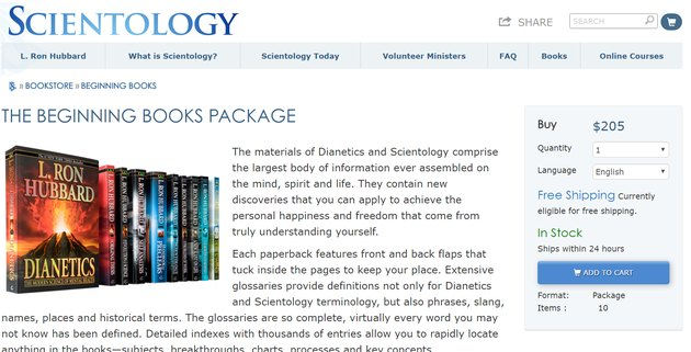 scientology books set cost