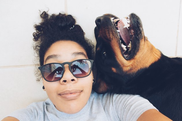 Young woman in sunglasses taking funny selfie with Rottweiler