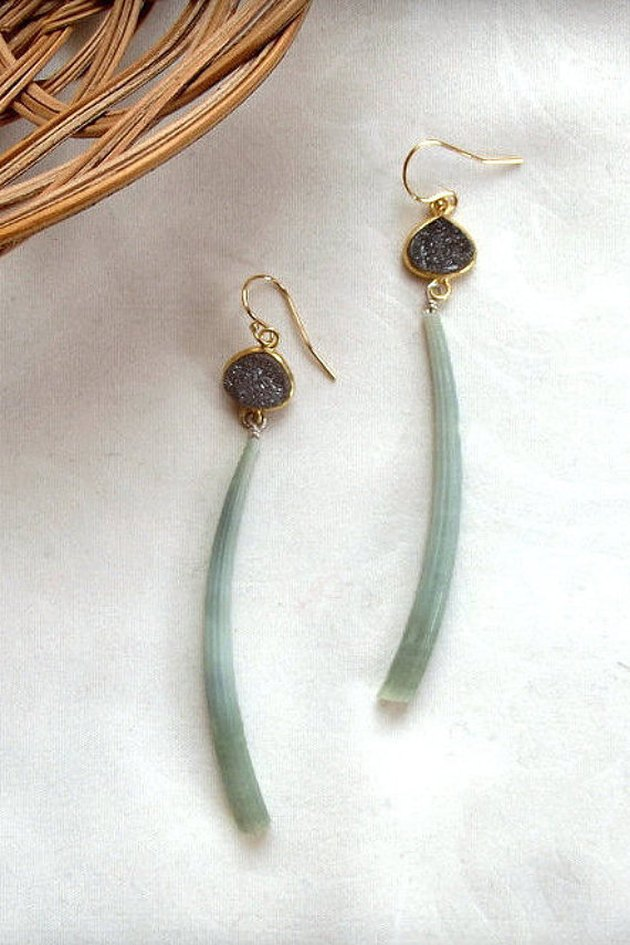 Wilde Element Jewelry — Dentalium Druzy Earrings