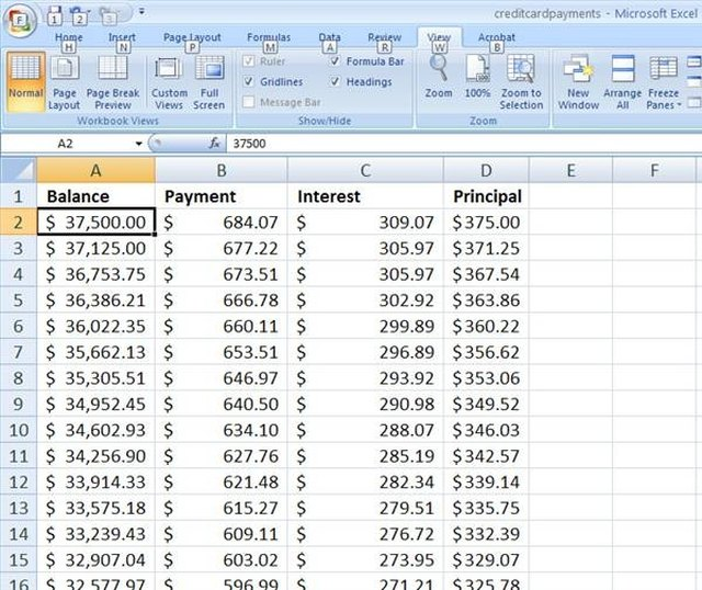How To Calculate Credit Card Payments In Excel Sapling